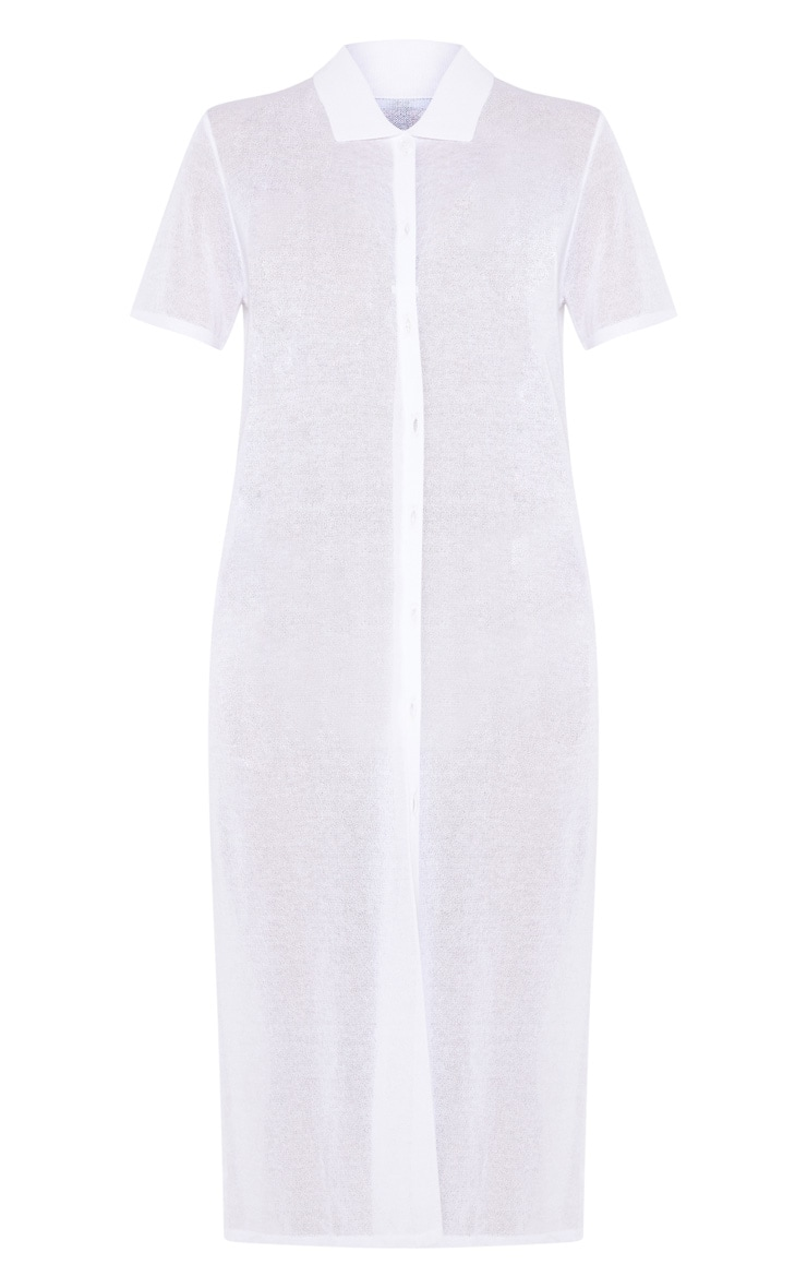 White Sheer Knitted Button Detail Dress  3