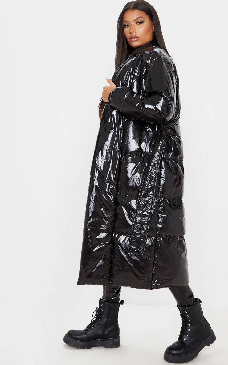 Black Shine Puffer Maxi Coat 4