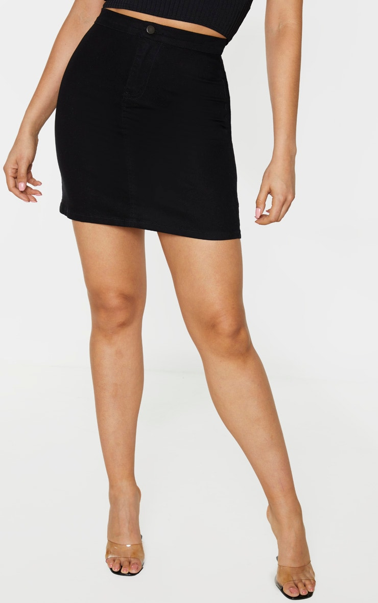 Tall Black Disco Fit Denim Skirt 2