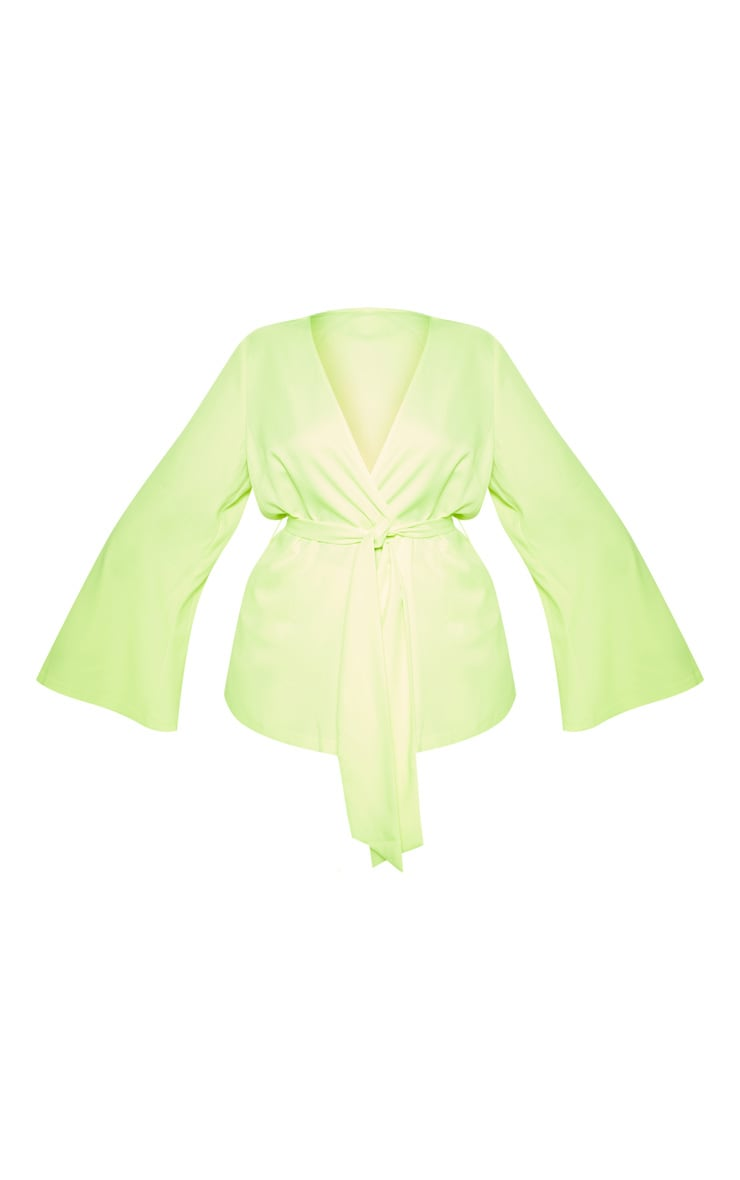 Plus Neon Lime Woven Belt Detail Blazer 3