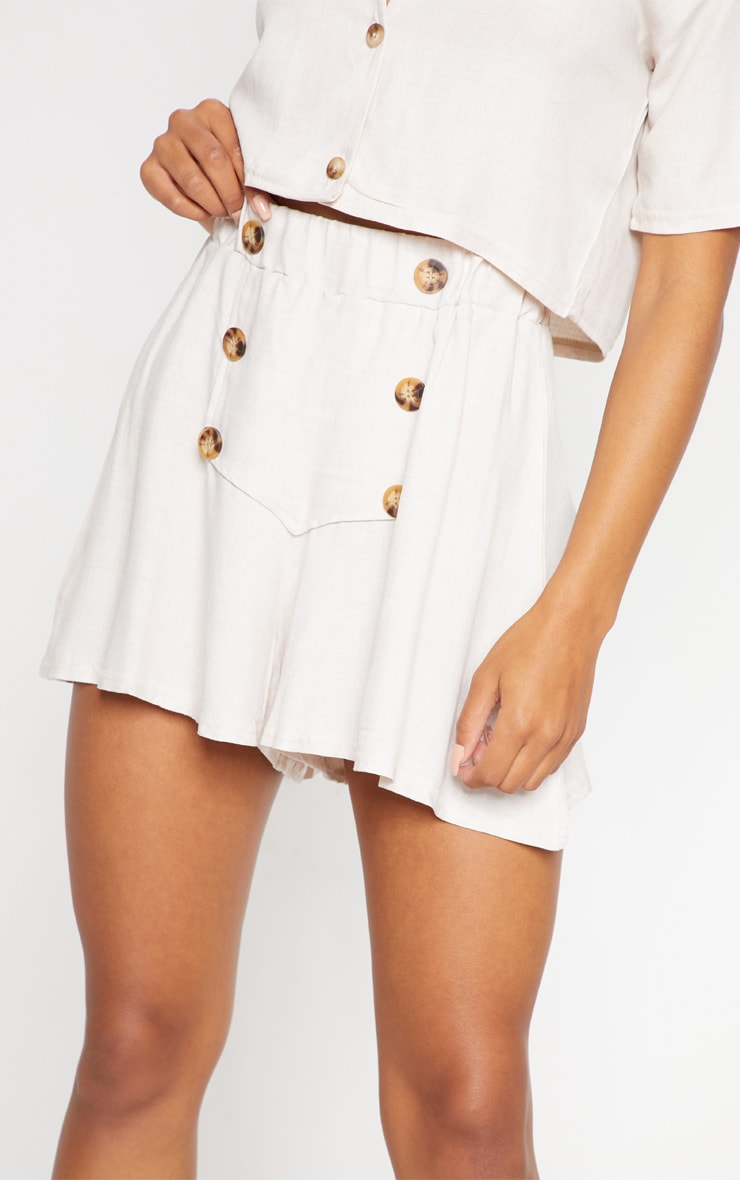 Cream Button Front Linen Feel Floaty Short 6