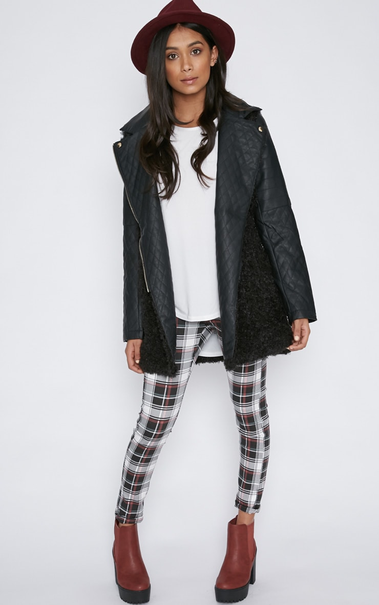 Fawn Black Curly Fur Coat with Leather Sleeves-XS 3
