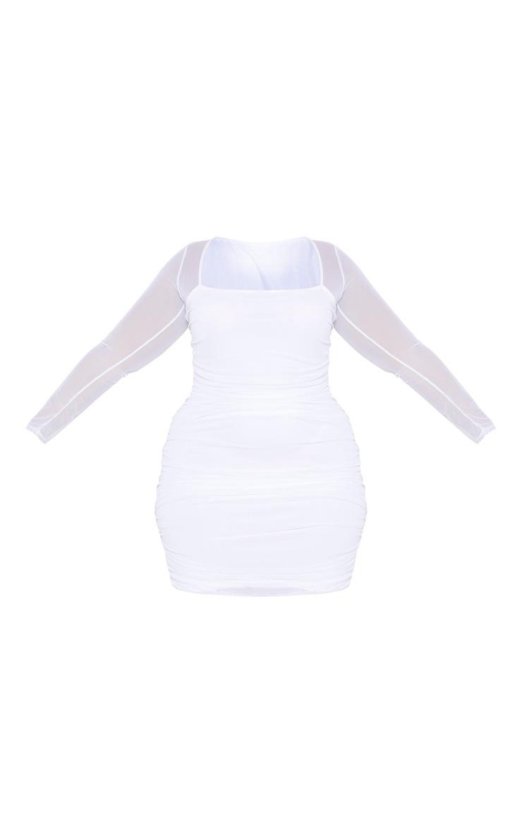 Plus White Mesh Ruched Square Neck Bodycon Dress 3
