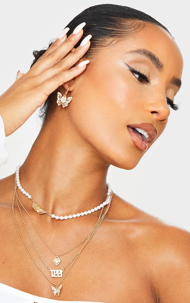 Gold Small Diamante Butterfly Hoop Earrings 2