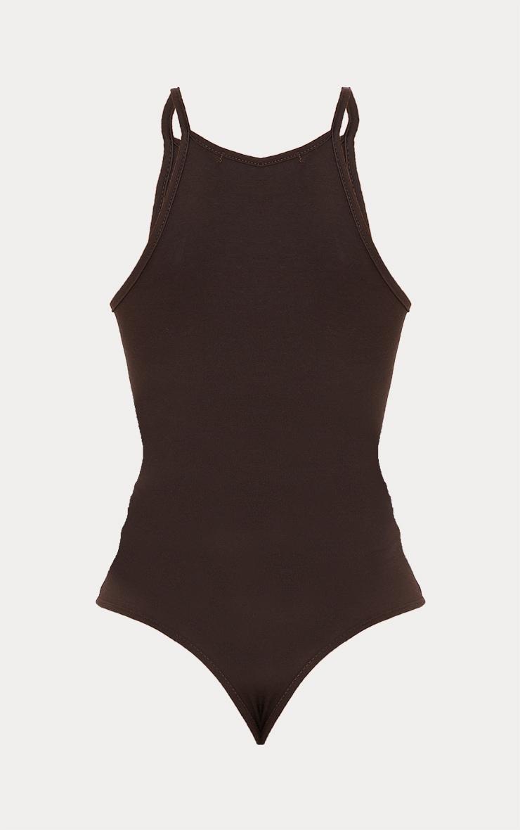 Basic Chocolate Racer Neck Thong Bodysuit 6