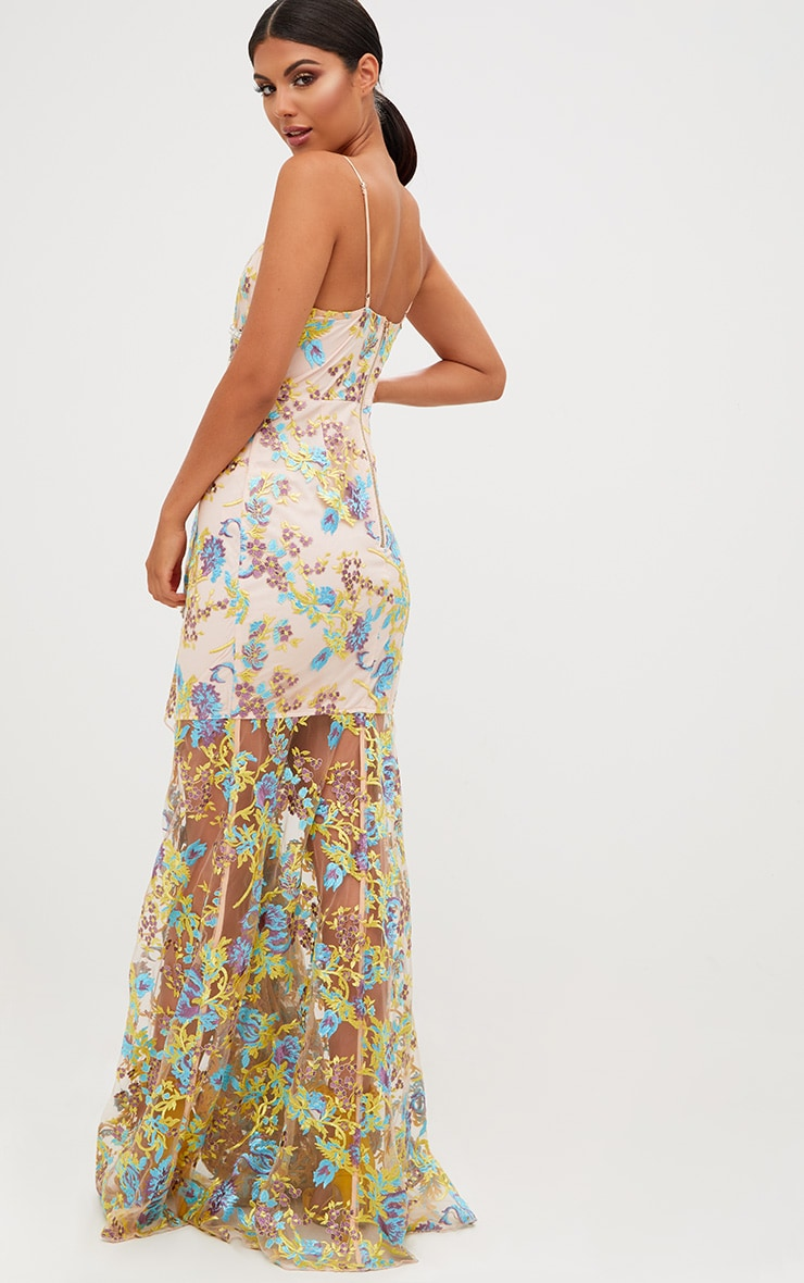 Premium Yellow Floral Embroidered Maxi Dress 3