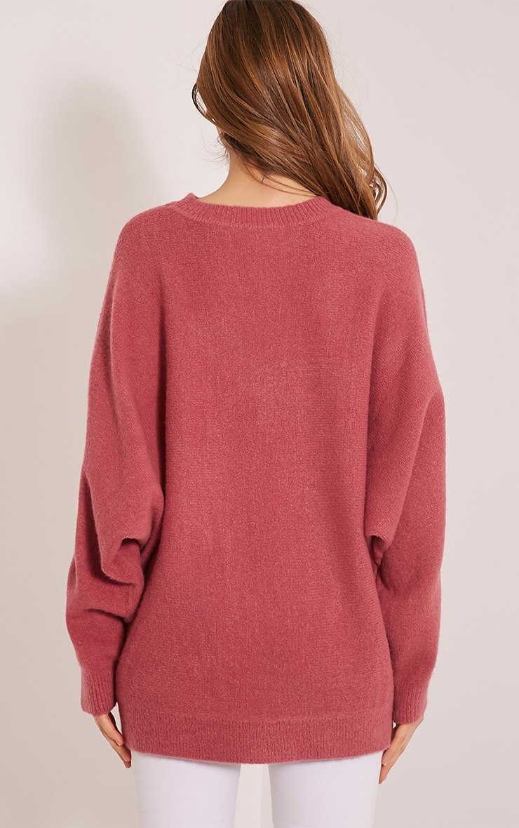 Raysa Dark Rose Oversized Knitted Jumper 2