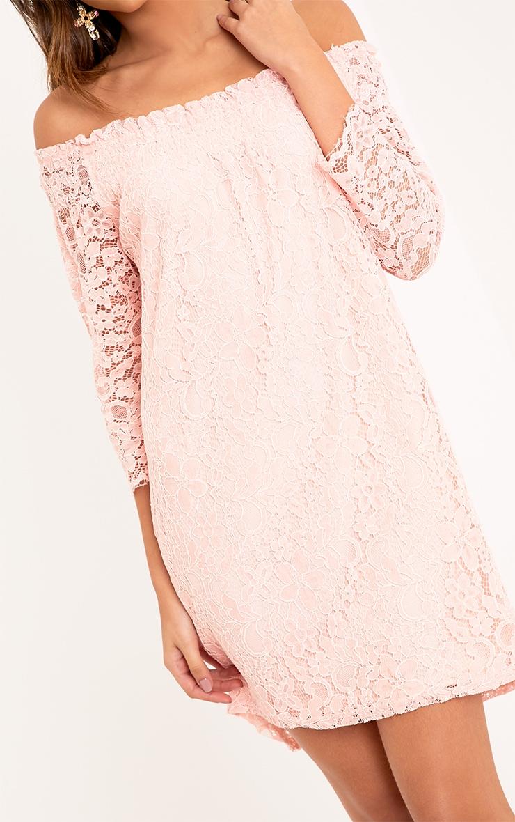 Cora Blush Lace Bardot Shift Dress 5