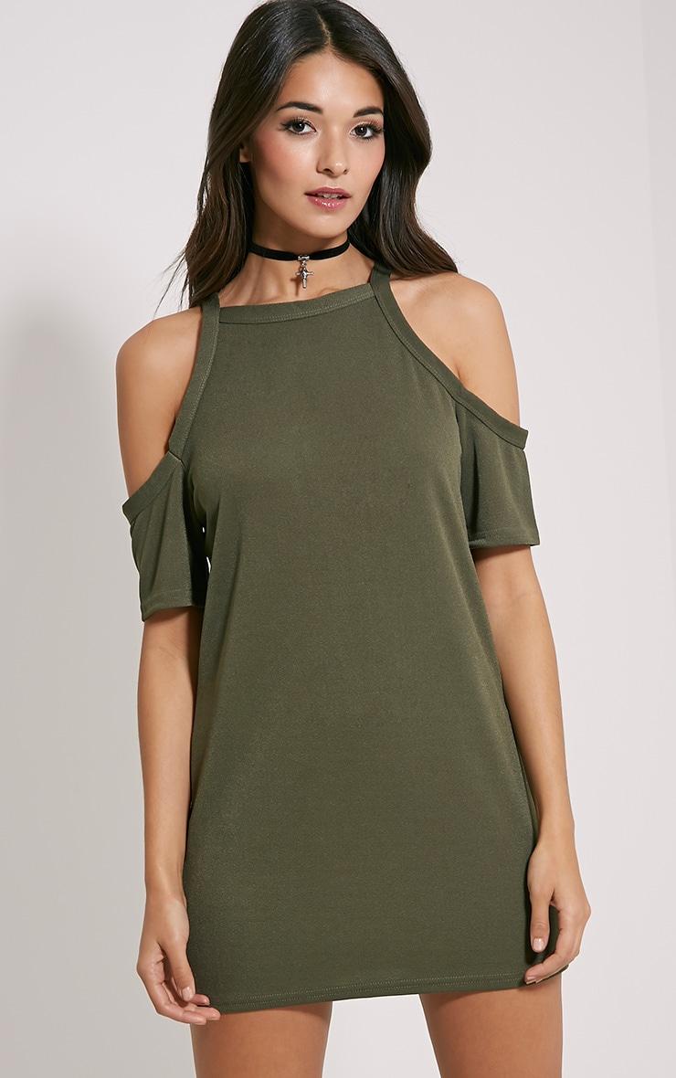 Nola Khaki Cut Out Shoulder Dress 1