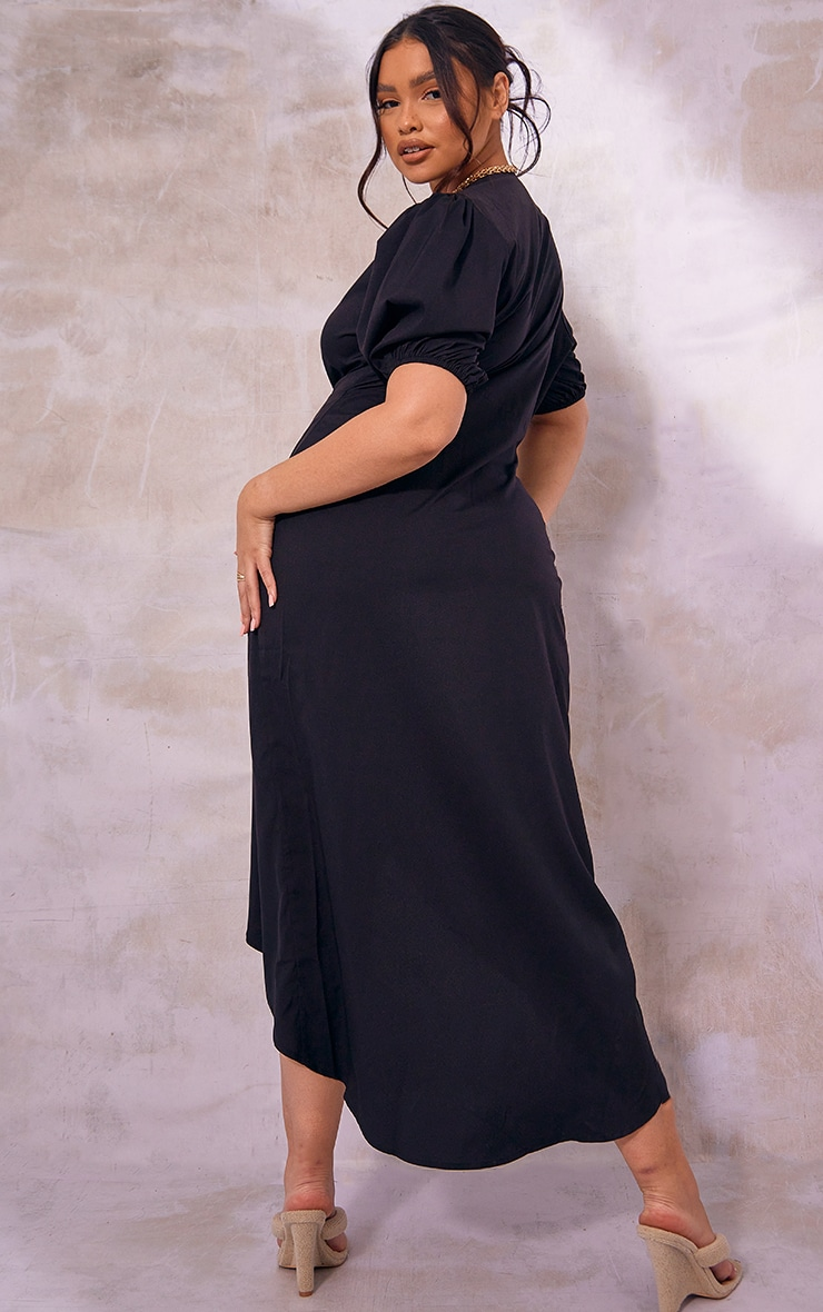 Plus Black Puff Sleeve Button Up Midaxi Dress 2