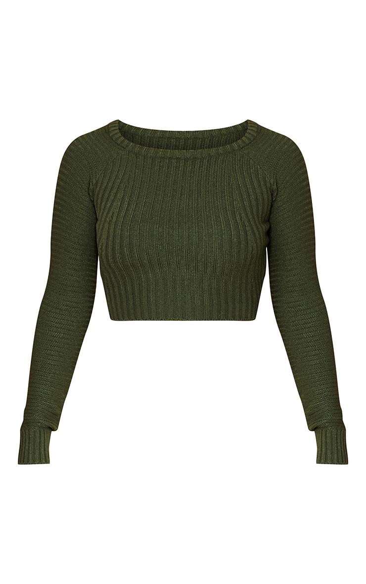 Khaki Cropped Rib Knit Sweater 5