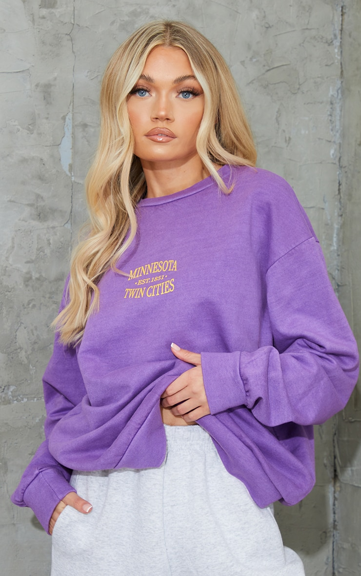 Purple Minnesota Slogan Printed Washed Sweatshirt 1