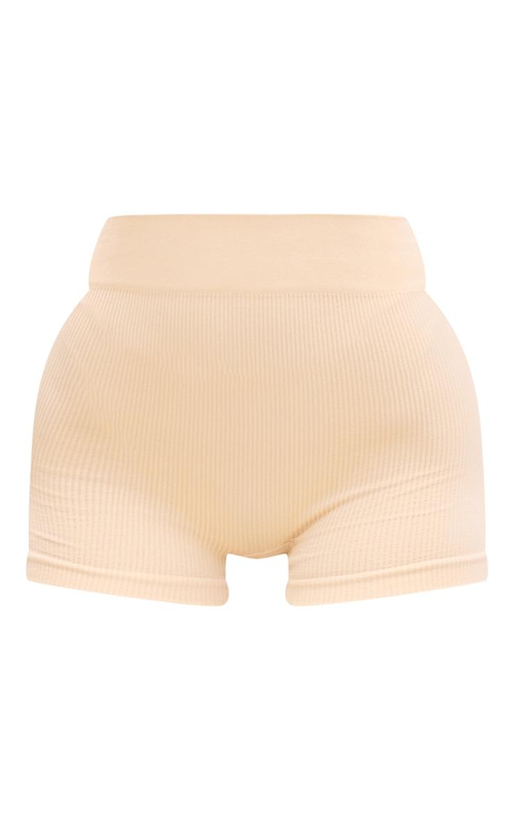Peach Structured Contour Rib Hot Pants 6