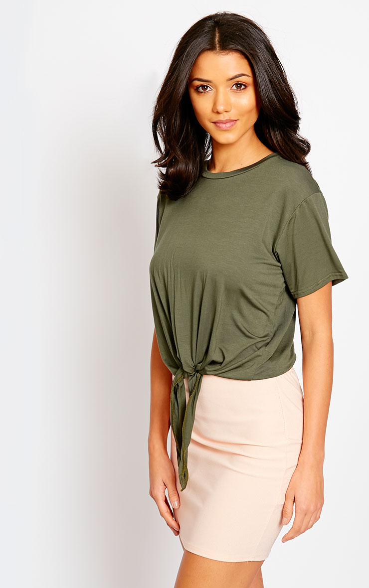 April Khaki Tie Front Crop Tee 1