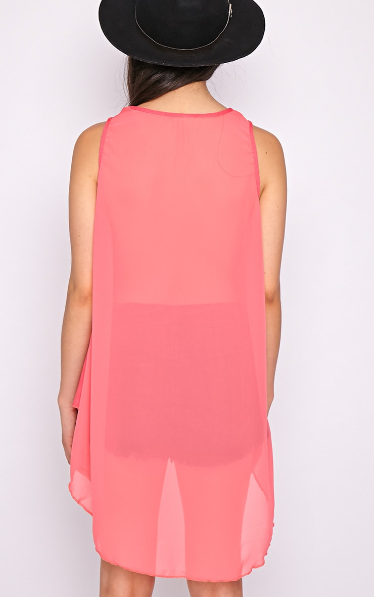 Malikah Fuschia Dip Hem Top With Sheer Back 2