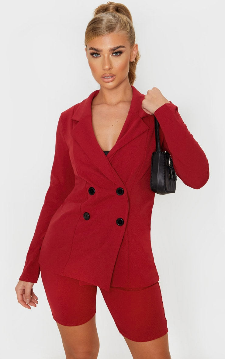 Deep Red Double Breasted Button Suit Jacket  1