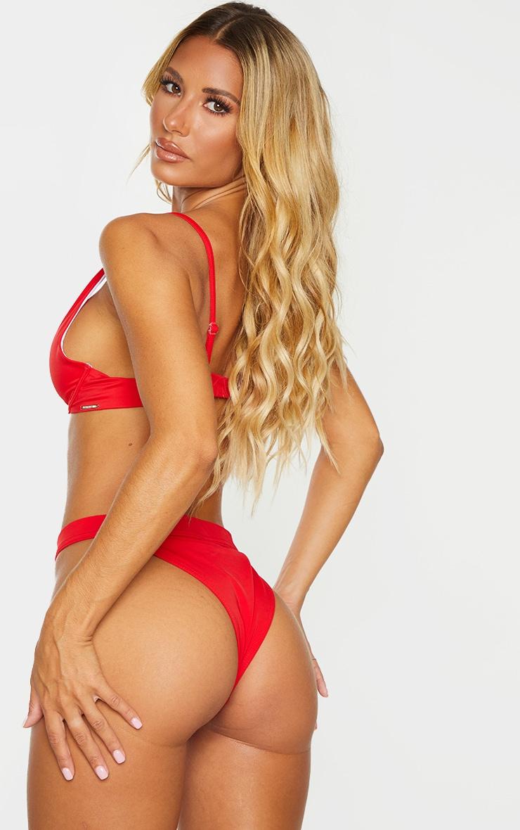 Red Recycled Fabric Underwired Bikini Top 2