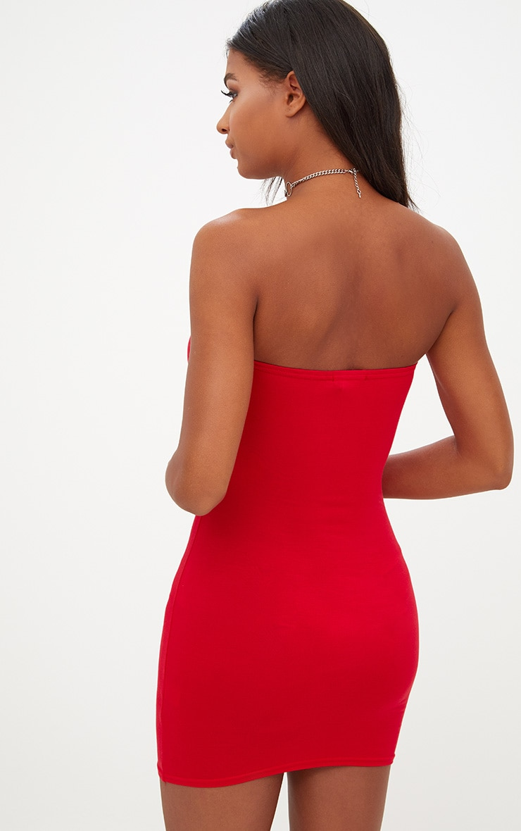 Basic Red Jersey Bandeau Bodycon Dress 2