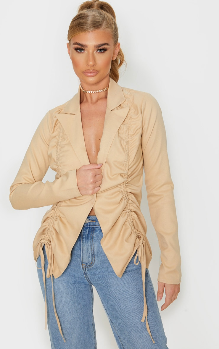 Stone Woven Ruched Detail Fitted Jacket 4