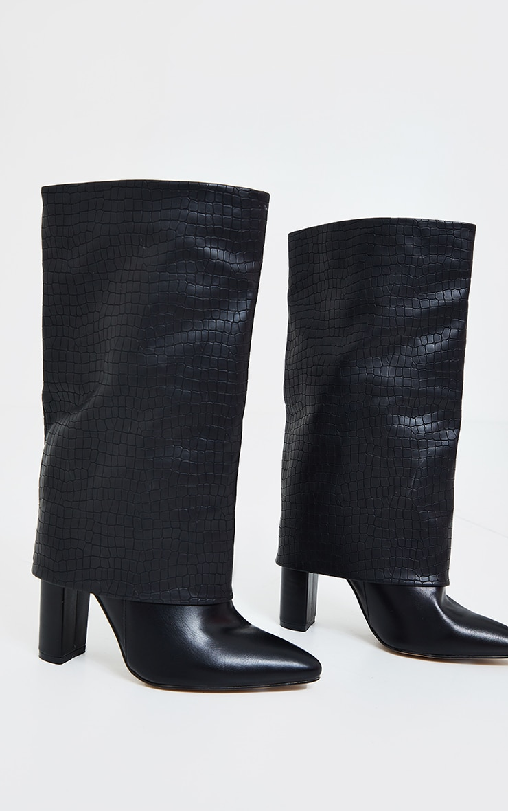 Black Fold Over High Point Block Heel Calf Boots 2