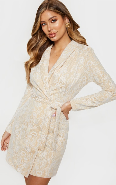 28df9380a8 White Lace Long Sleeve Blazer Dress