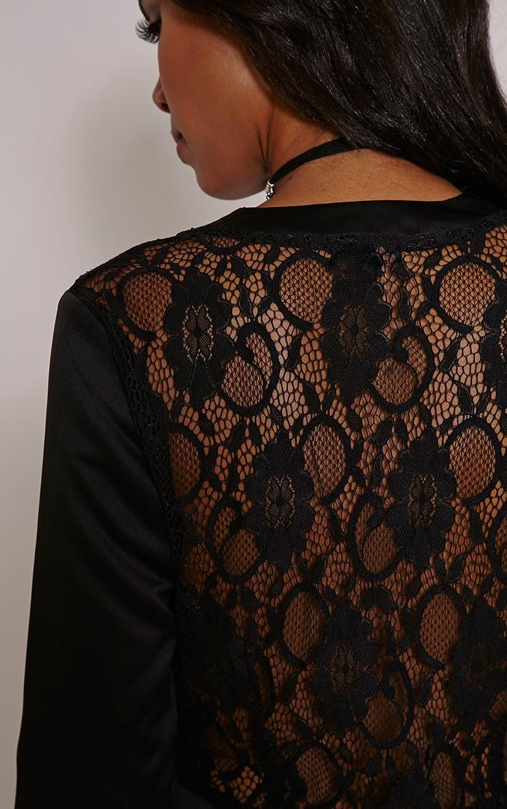 Lysa Black Satin Lace Back Playsuit 5