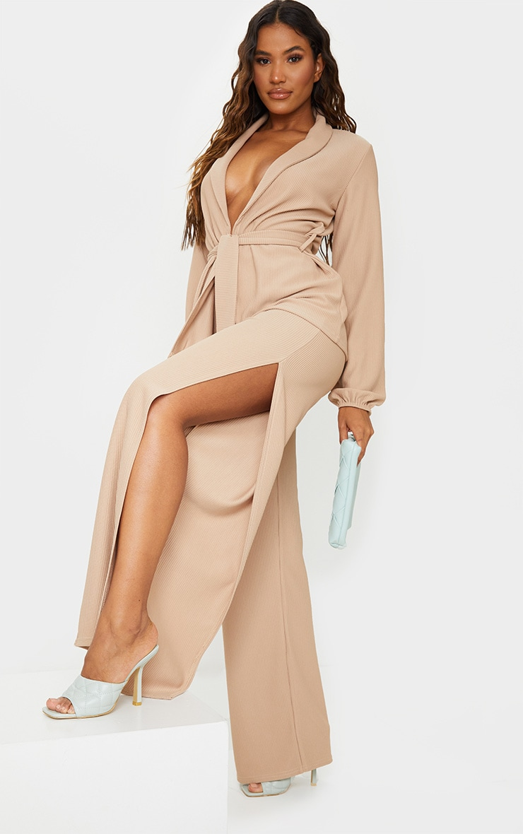 Taupe Wide Rib Split Side Trousers 1