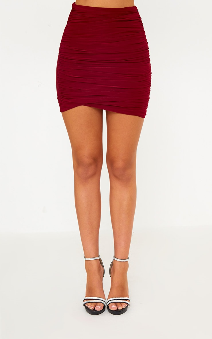 Burgundy Ruched Layered Slinky Mini Skirt 2