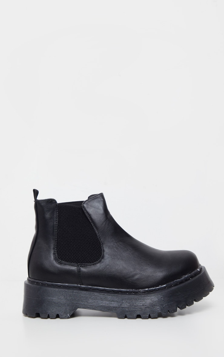 Black Wide Fit Chunky Sole Chelsea Ankle Boot 3