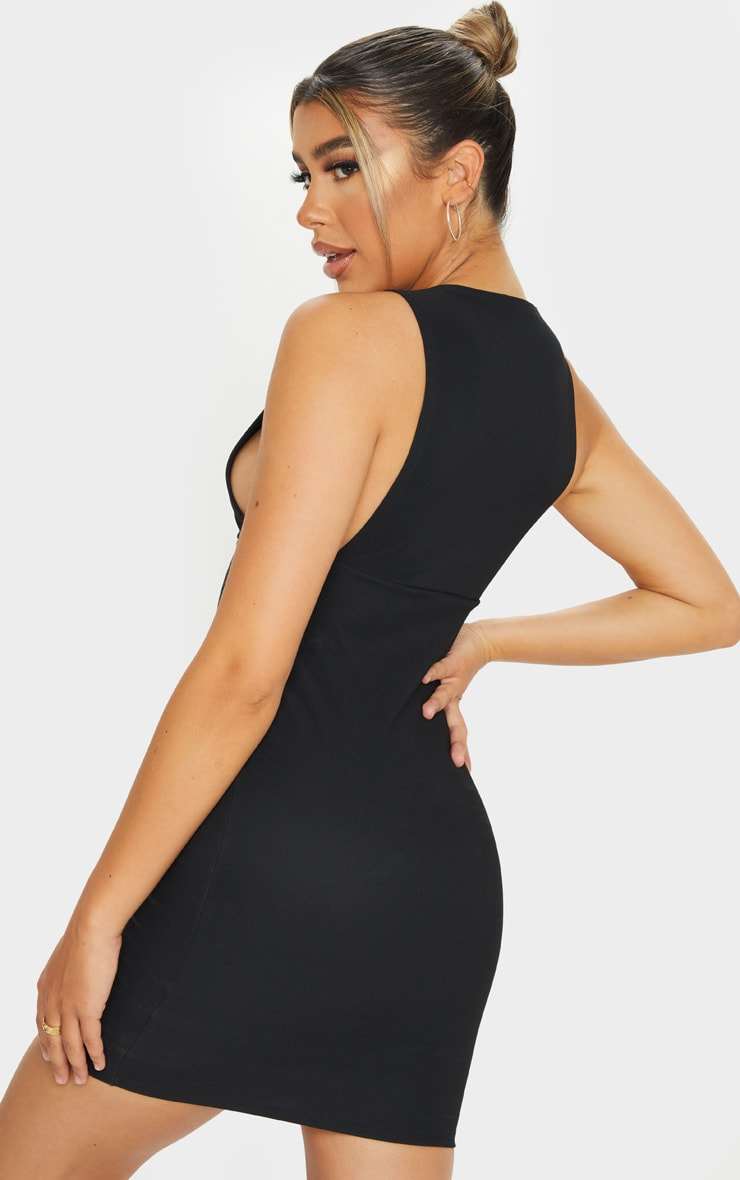 Black Bandage Rib Crew Neck Low Armhole Bodycon Dress 2