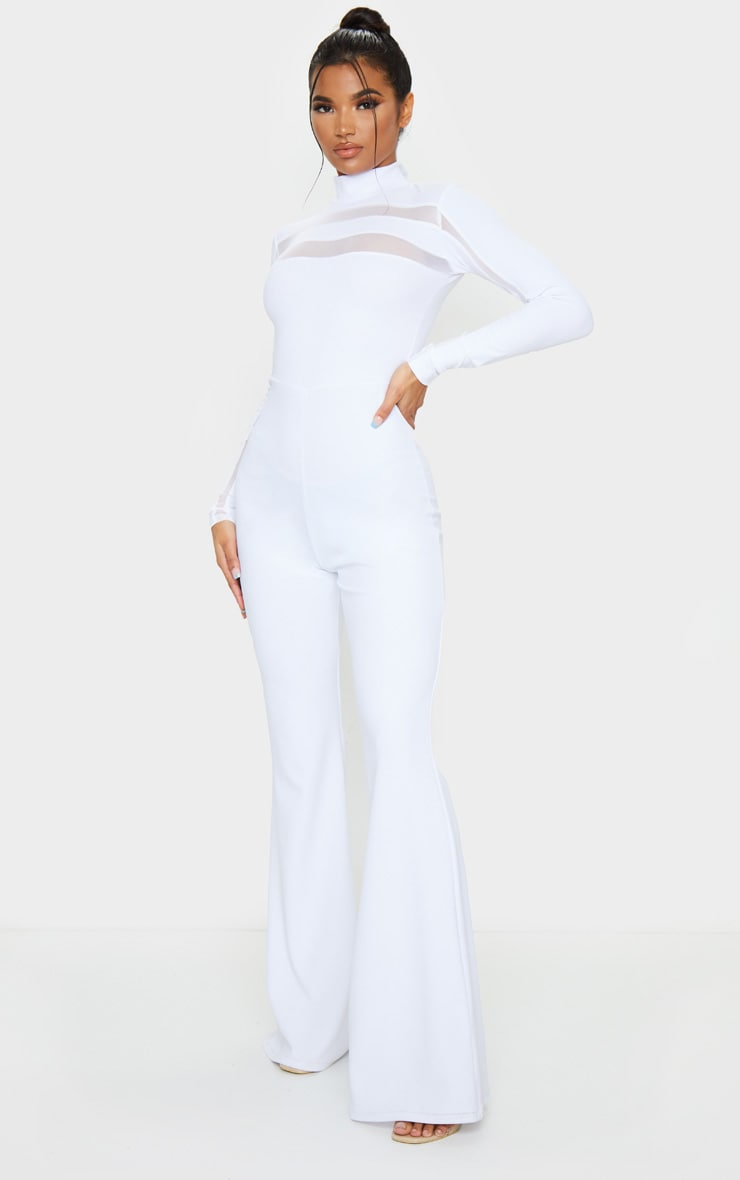 White High Neck Mesh Insert Long Sleeve Jumpsuit 1