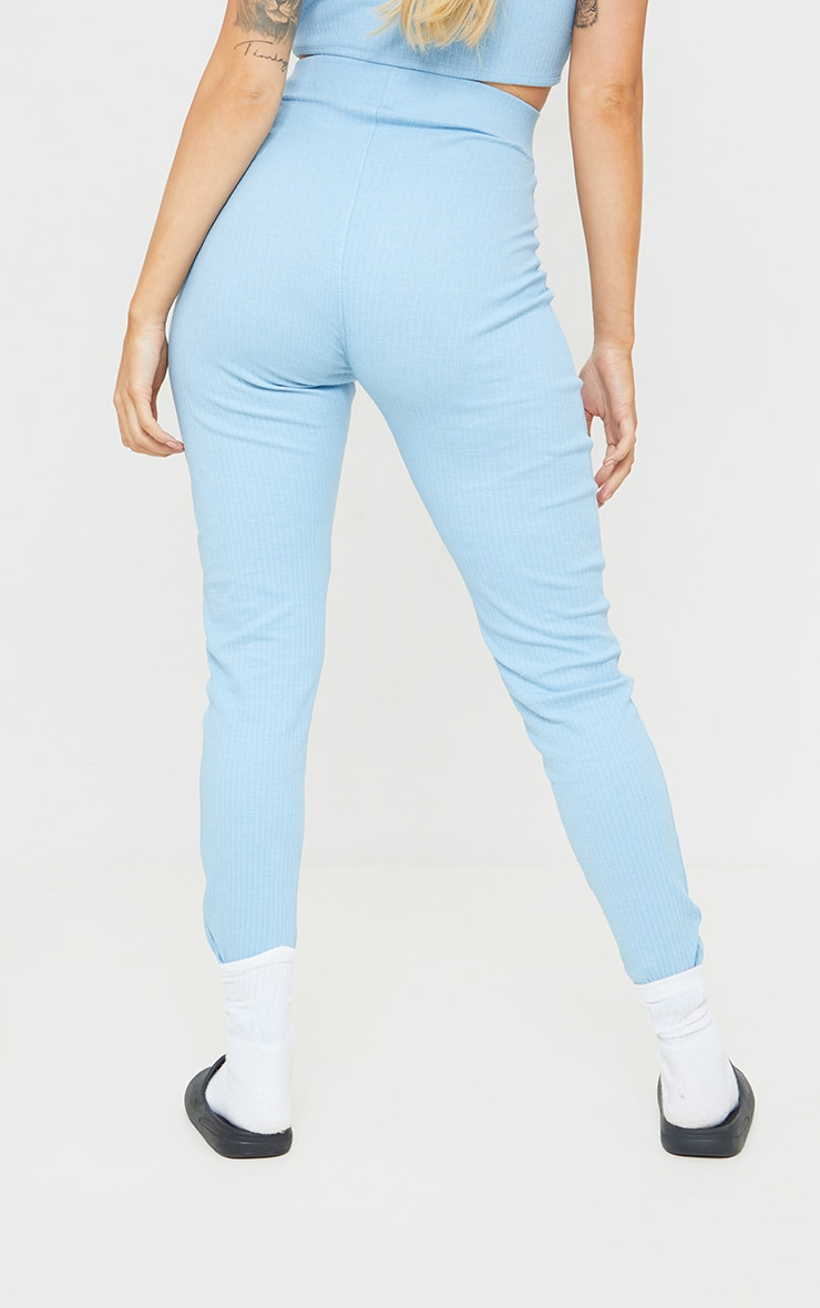 PRETTYLITTLETHING Maternity Blue Ribbed Over Bump Leggings 3