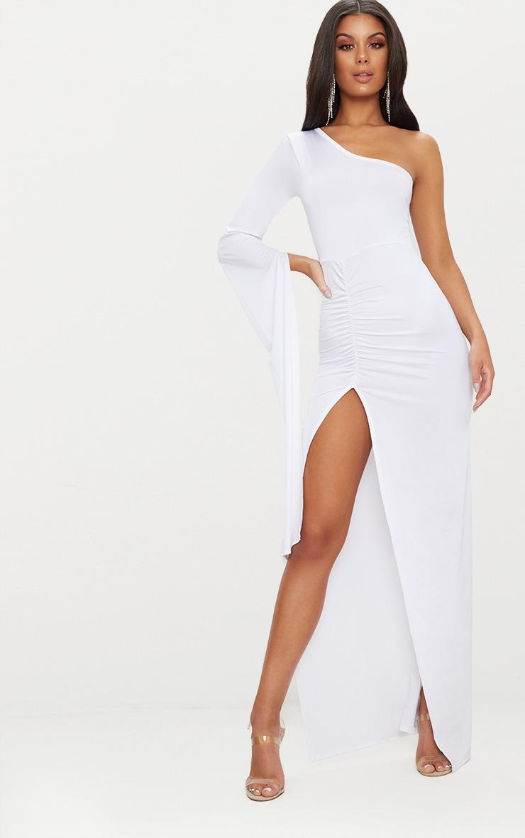 White Slinky One Sleeve Split Detail Maxi Dress 1