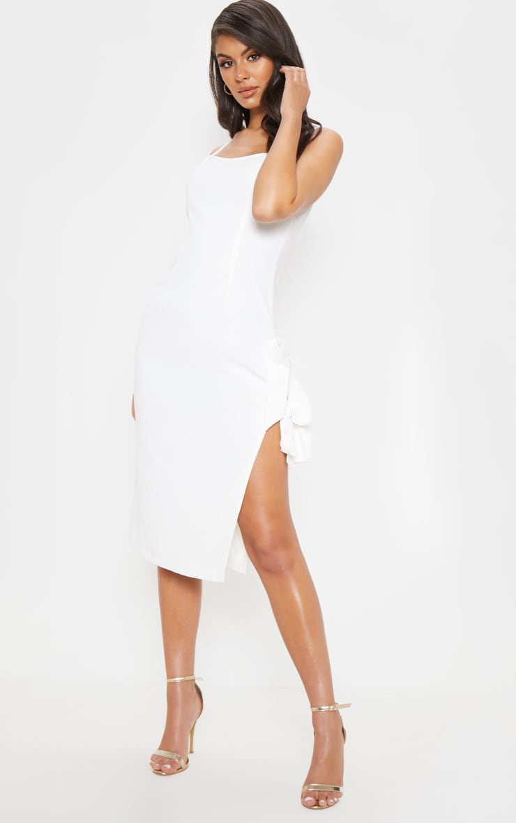 White Split Side Midi Dress 3