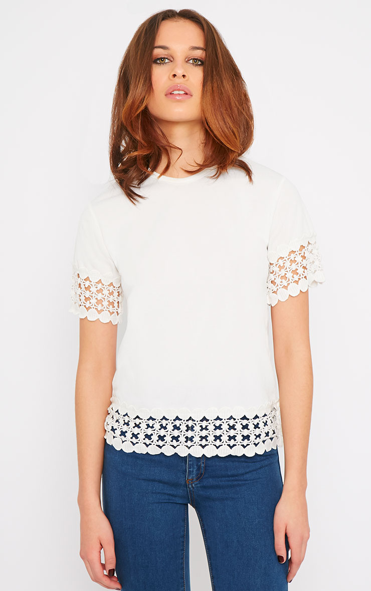 Rhian Cream Crochet Trim Tee 1