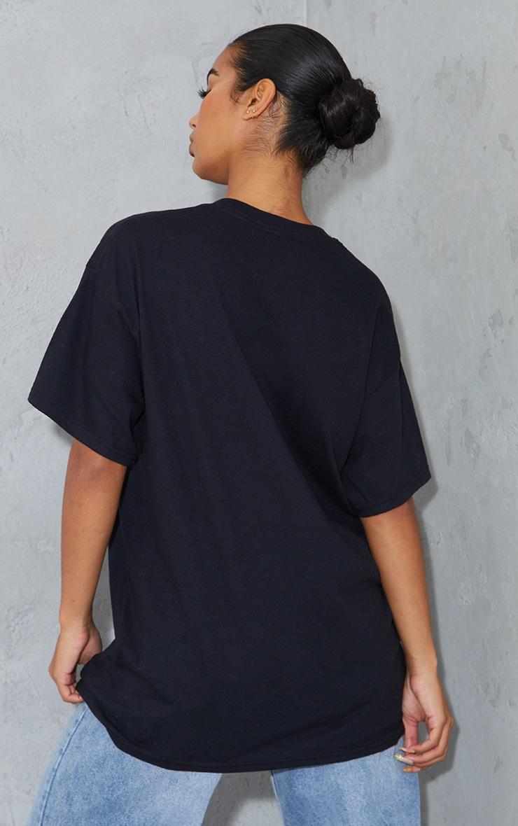 PRETTYLITTLETHING Graphic Black Oversized T Shirt 2