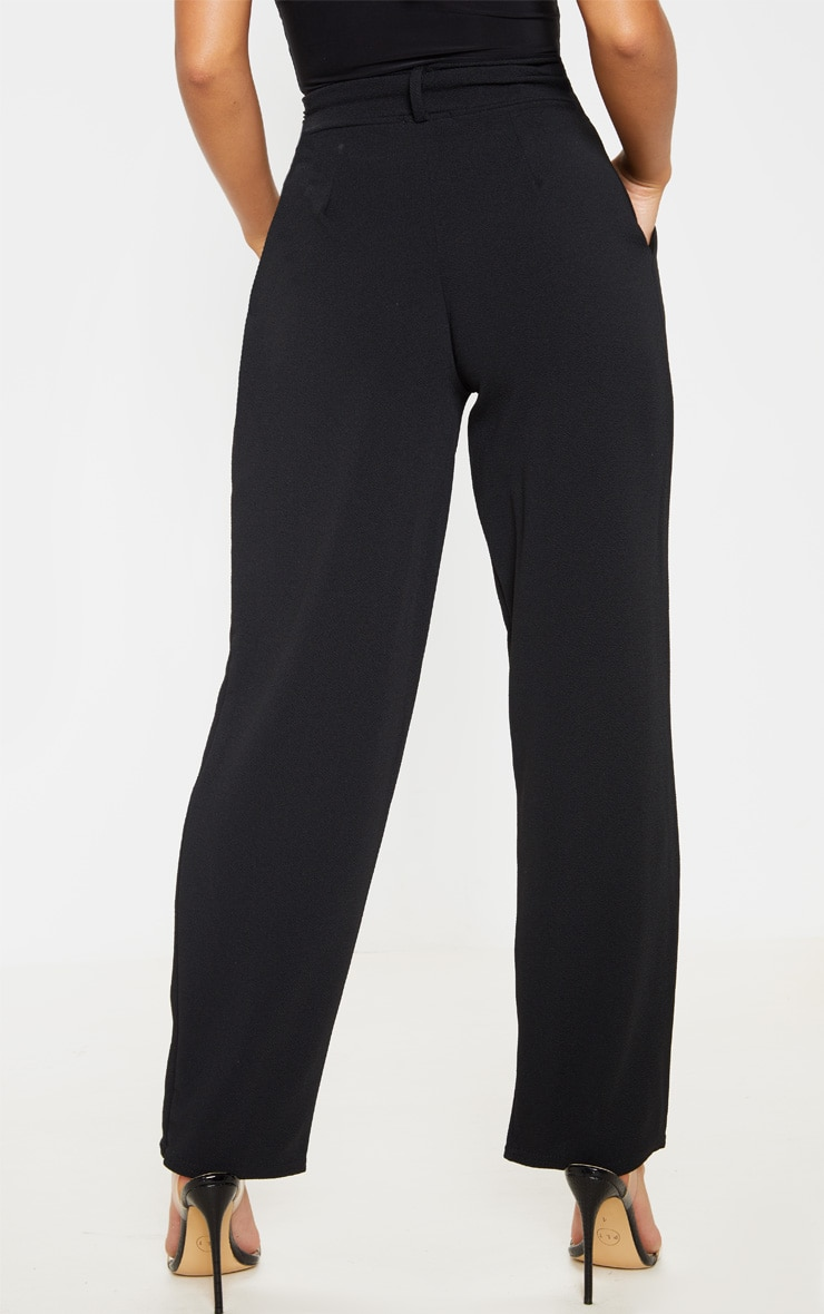 Petite Black Belted Straight Leg Trouser 3