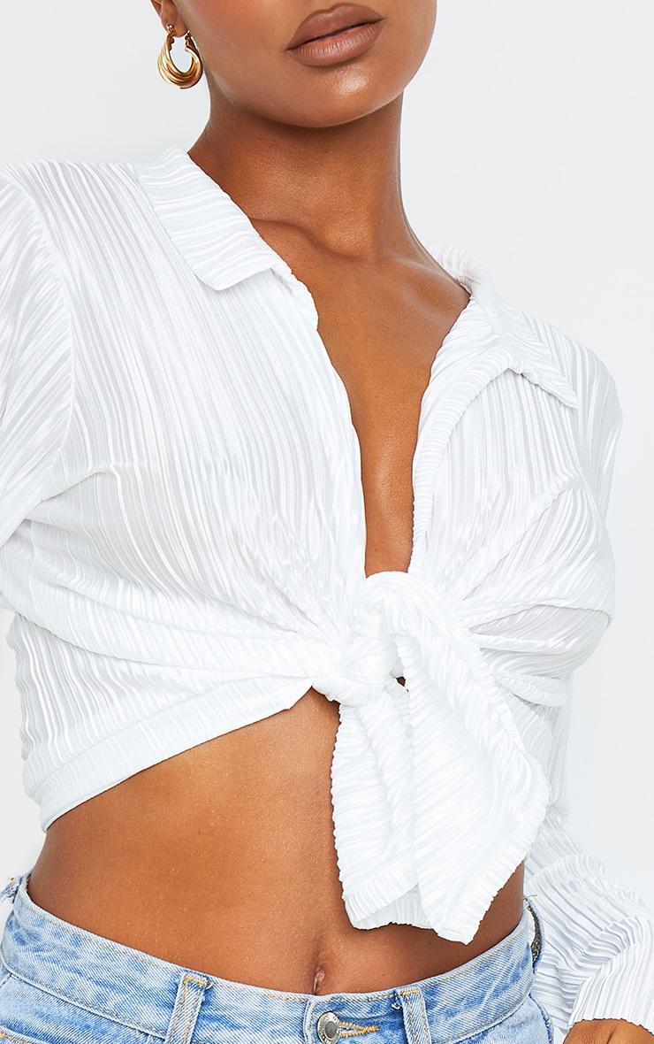 Cream Plisse Tie Front Long Sleeve Shirt 4