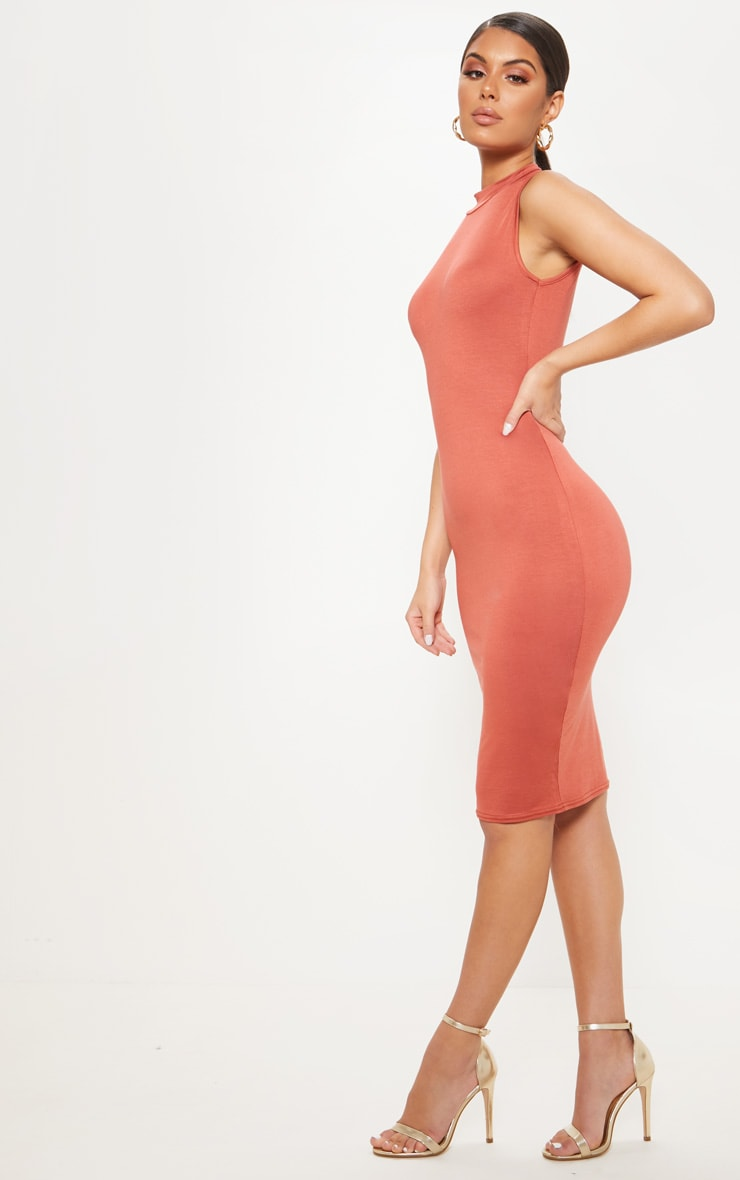 Terracotta High Neck Sleeveless Midi Dress 4