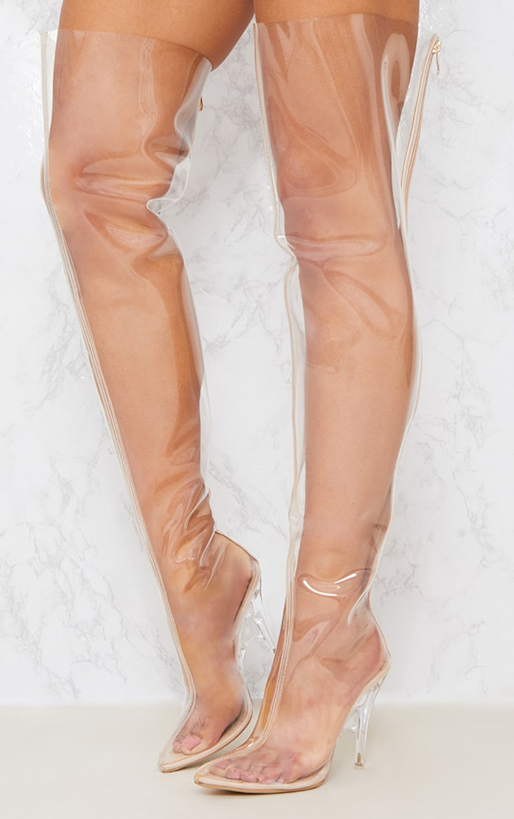 Clear Thigh High Heeled Boots 3