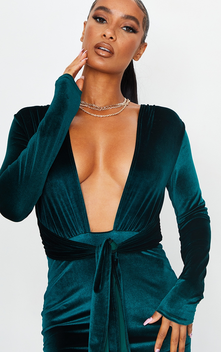 Emerald Green Velvet Deep Plunge Tie Waist Bodycon Dress 4