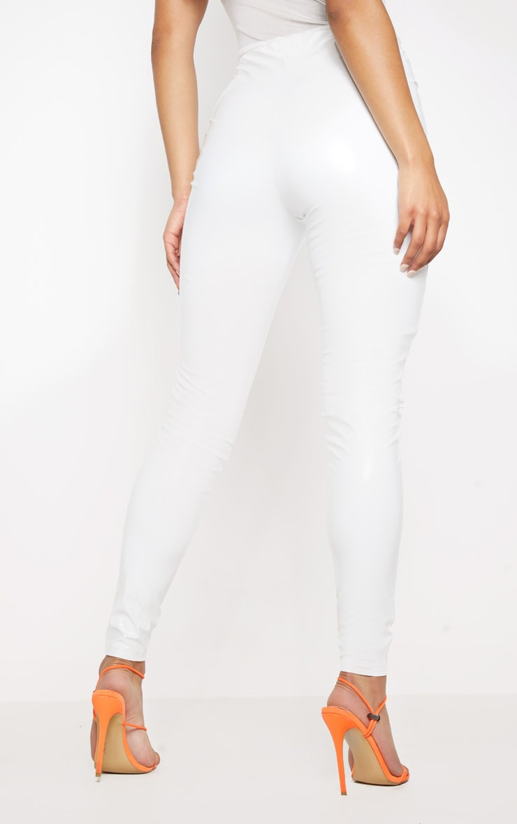 White Highwaisted Vinyl Leggings 3