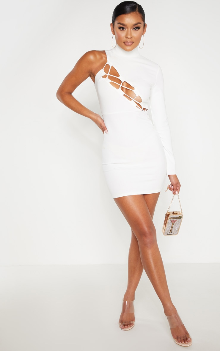 White One Shoulder Asymmetric Lace Up Bodycon Dress 1