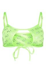 821ad13eb53c6 Prettylittlething Lime Repeat Metallic Bikini Top | PrettyLittleThing