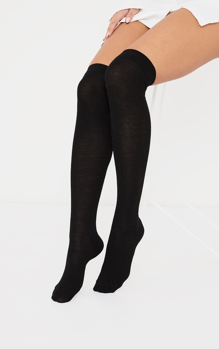 Basic Black Over the Knee Socks 1