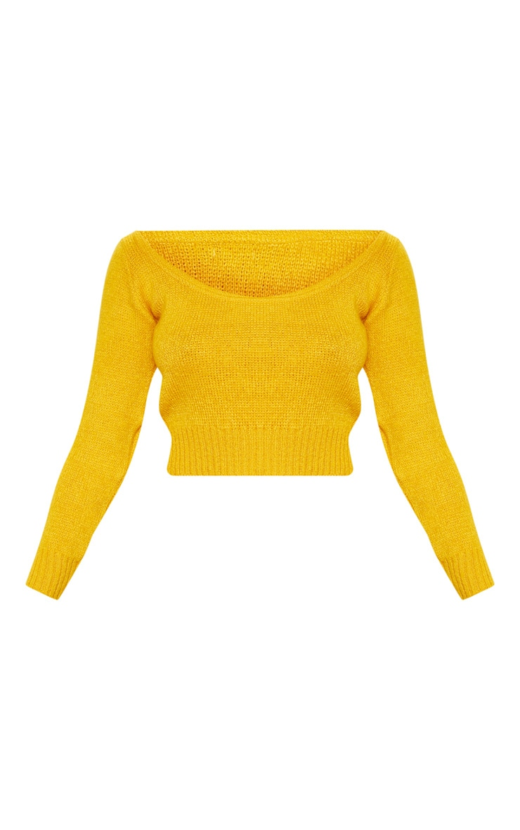 Mustard V Neck Off Shoulder Soft Knitted Crop Jumper 3