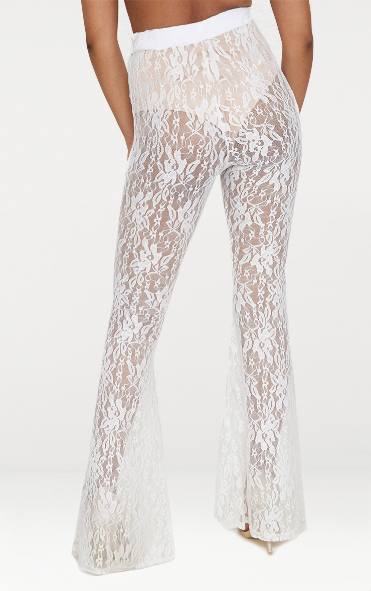 Petite White Flared Lace Trousers 4