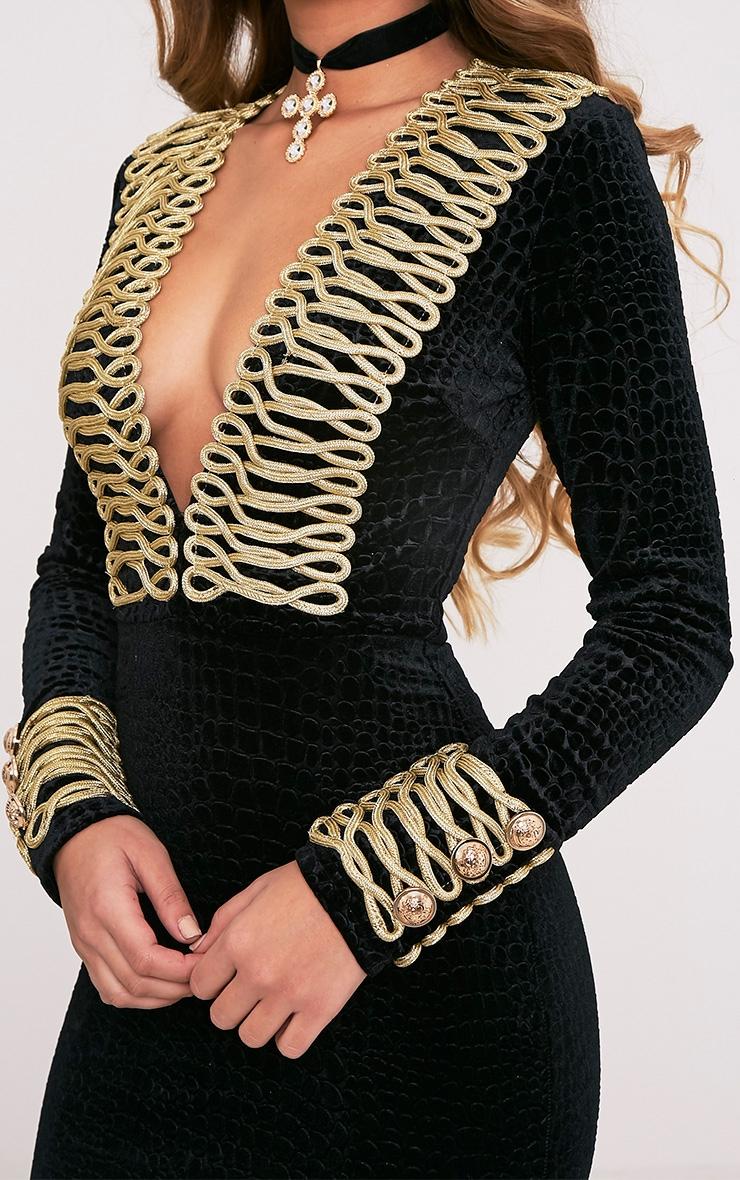 Alania Black Velvet Rope Detail Bodycon Dress 7
