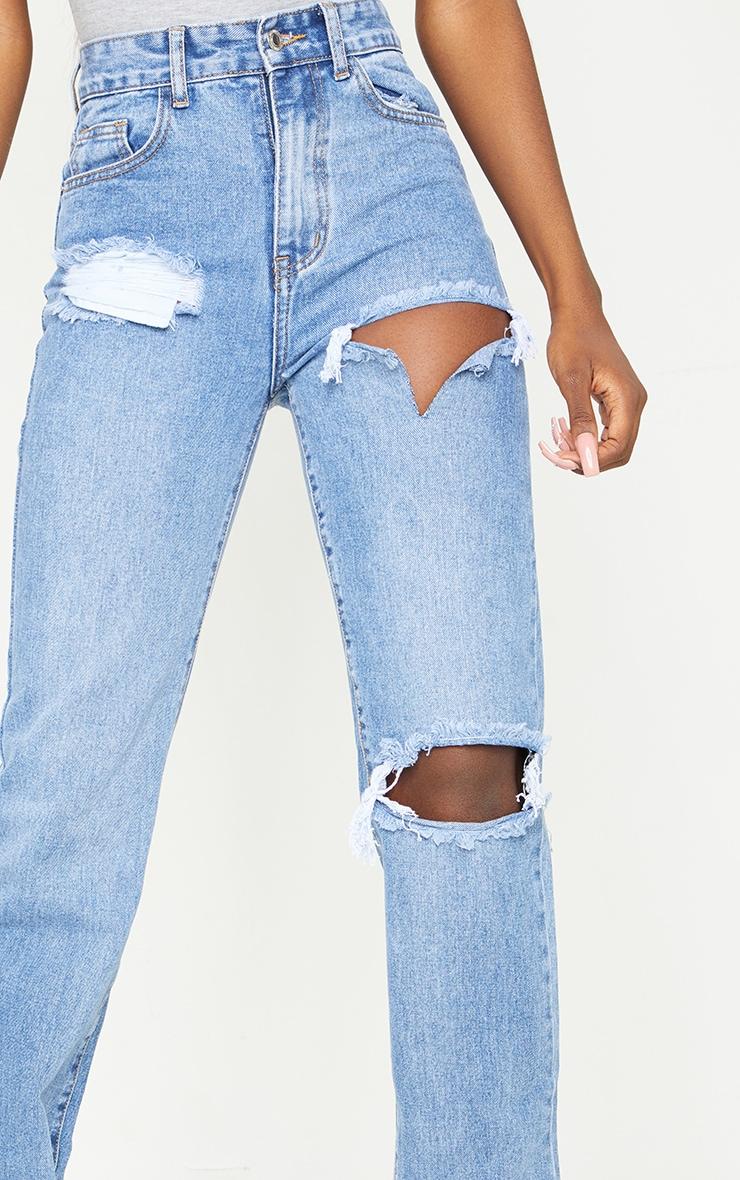 Tall - Jean bleu moyennement délavé fendu à doubles déchirures 4
