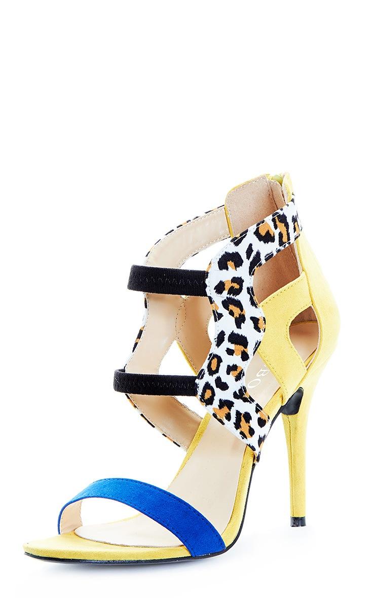 Deni Yellow Leopard Contrast Suedette Heeled Sandal 3